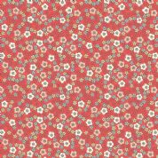 Lewis & Irene Flo's Little Flowers - 5008 - Ditsy Floral, Peach, Yellow, Blue on Red - FLO5-3 - Cotton Fabric